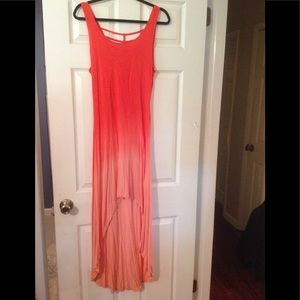 Dresses & Skirts - Coral ombré maxi with hi-low hem